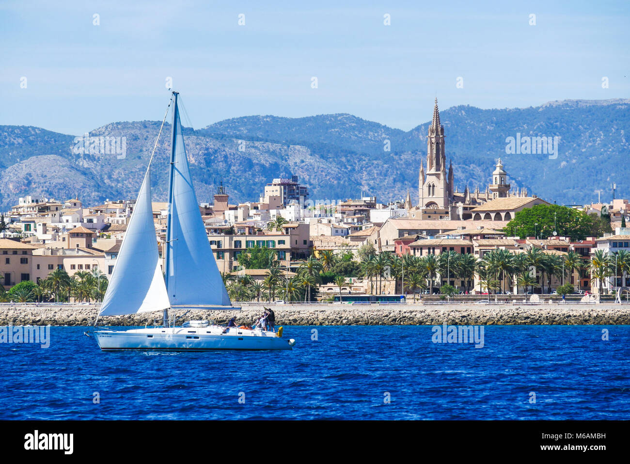 Palma de Mallorca, Spain. View from the sea with boath on a hot summer day. - Stock Image