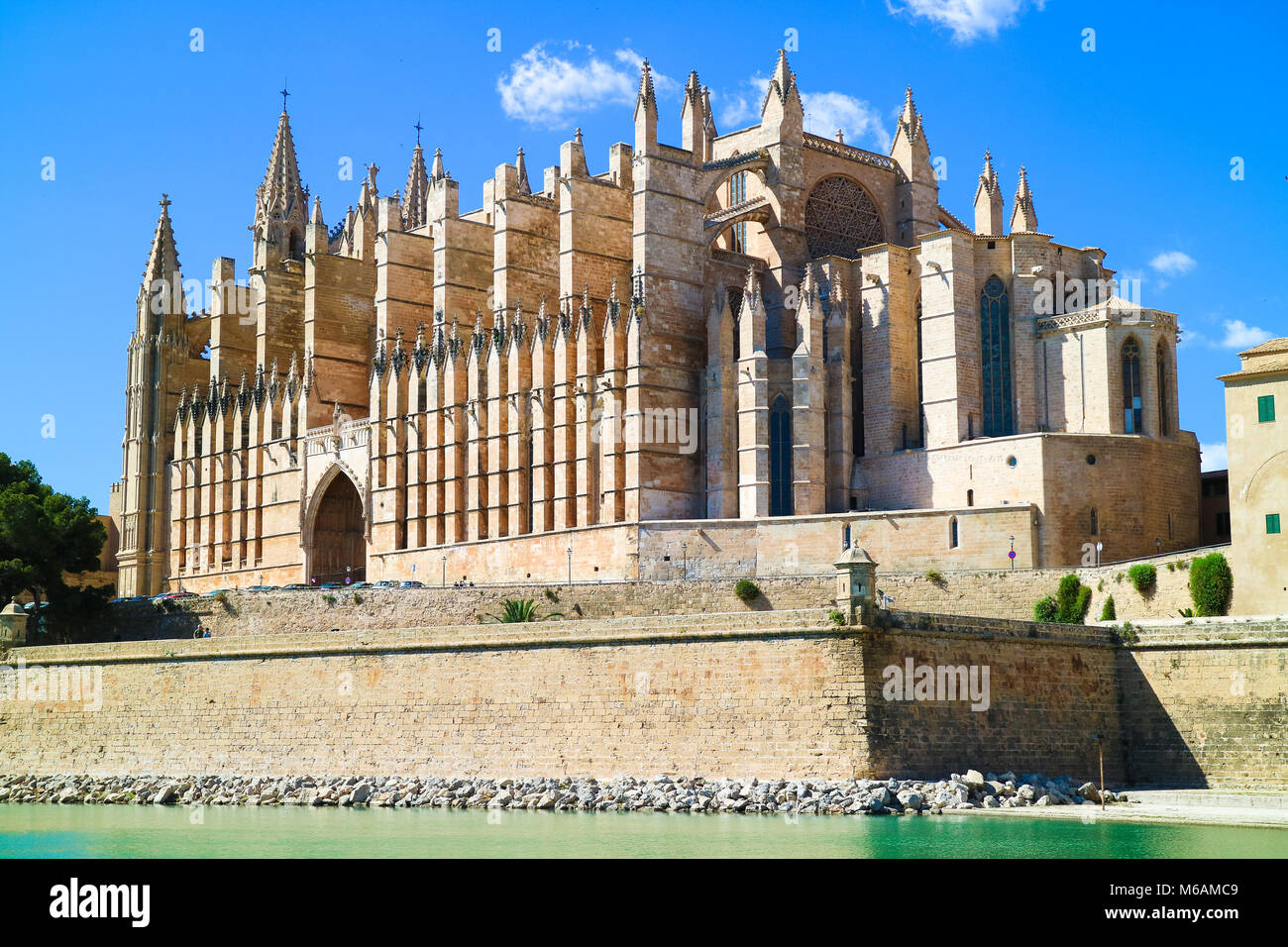 Palma de Mallorca, Spain. La Seu - the famous medieval gothic catholic cathedral in the capital of the island - Stock Image
