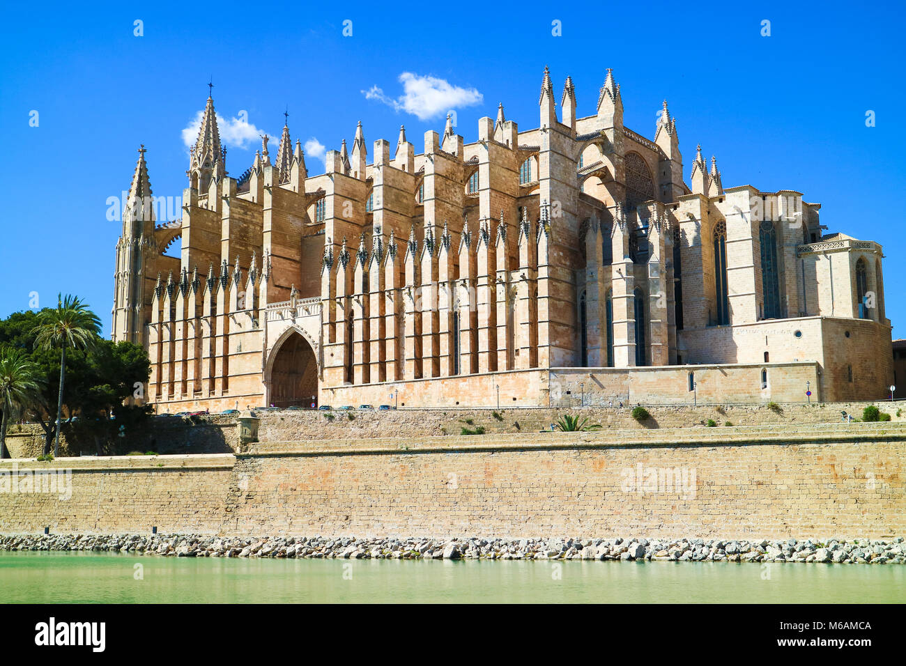 La Seu - the famous medieval gothic catholic cathedral in the capital of the island. Palma de Mallorca, Spain. - Stock Image