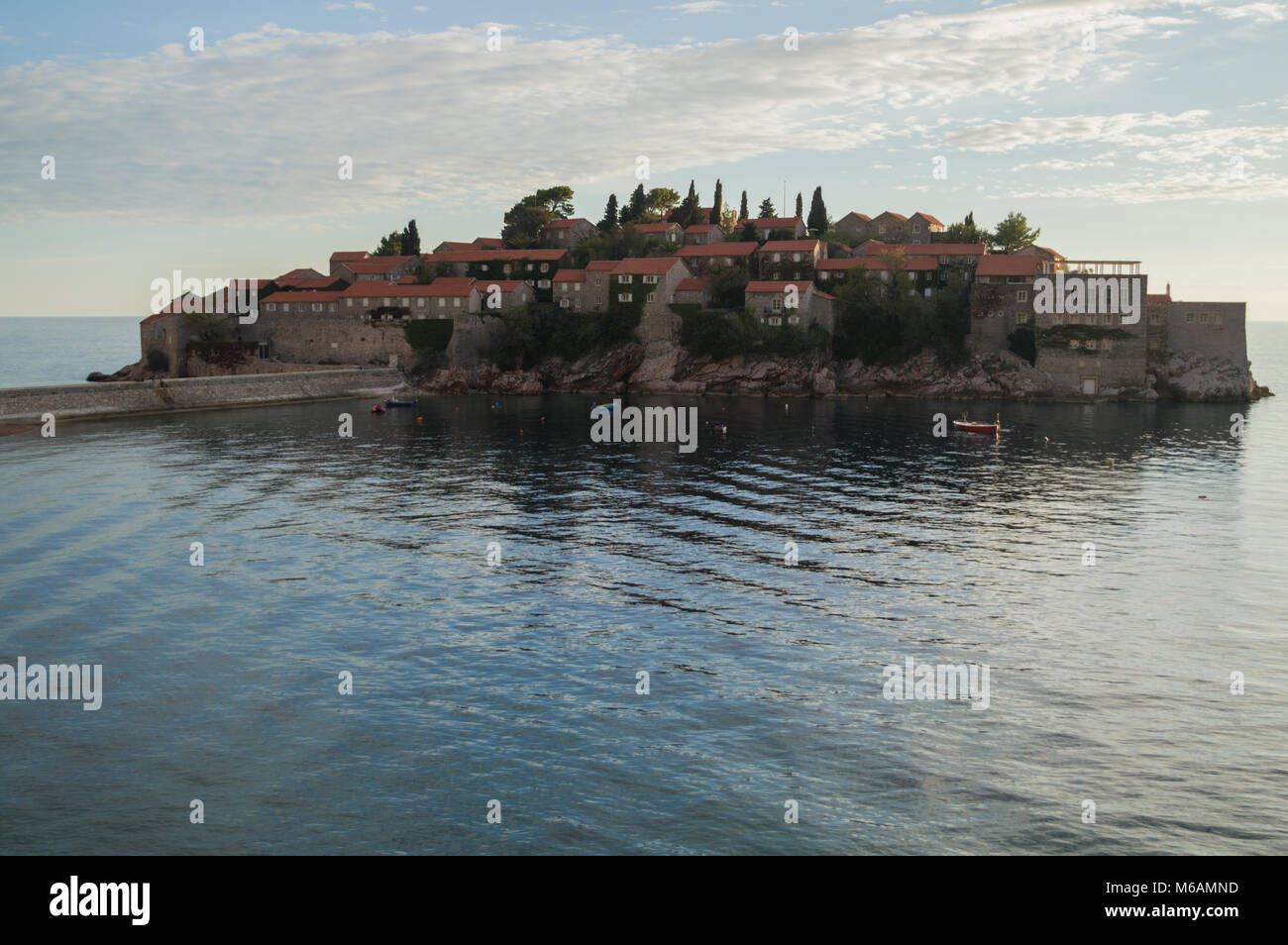 Different Angle onto Sveti Stefan Island, Montenegro - Stock Image