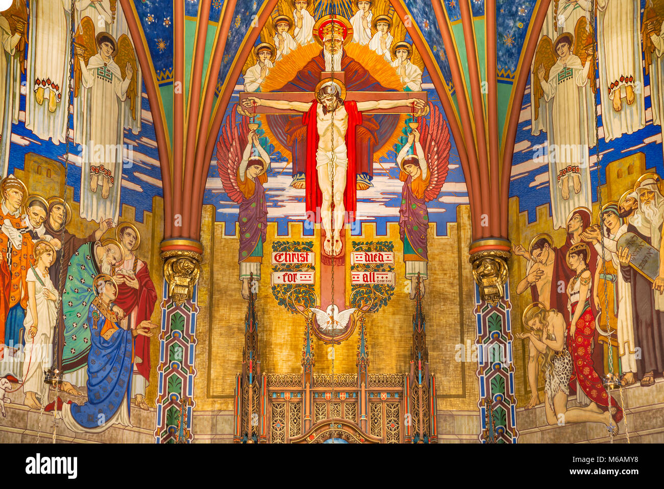 Murals in Sanctuary of Cathedral of the Madeleine, Salt Lake City, Utah, USA - Stock Image