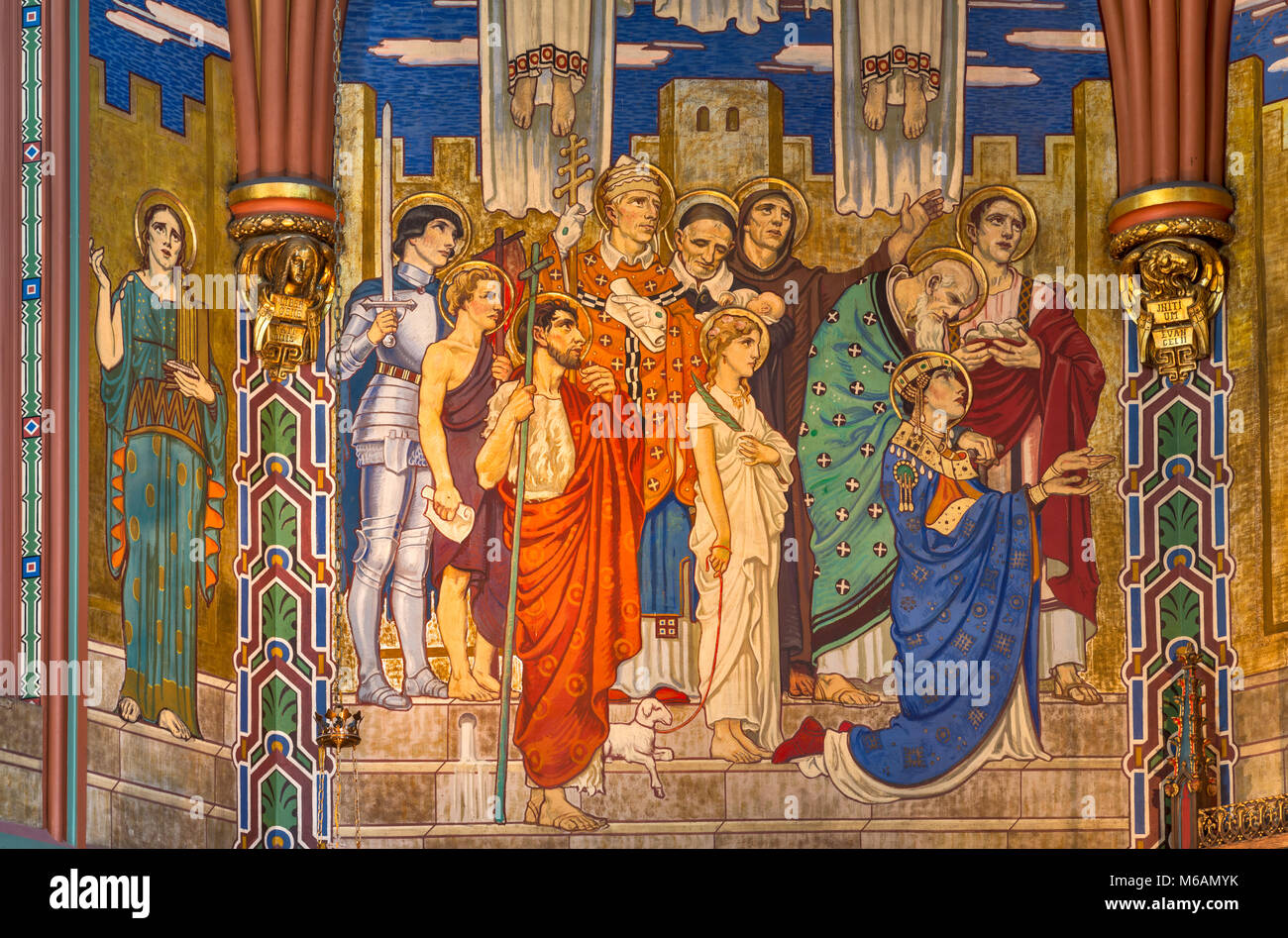 Prominent Christian figures at murals in Sanctuary of Cathedral of the Madeleine, Salt Lake City, Utah, USA - Stock Image