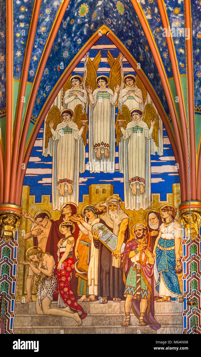 Old Testament figures at murals in Sanctuary of Cathedral of the Madeleine, Salt Lake City, Utah, USA - Stock Image