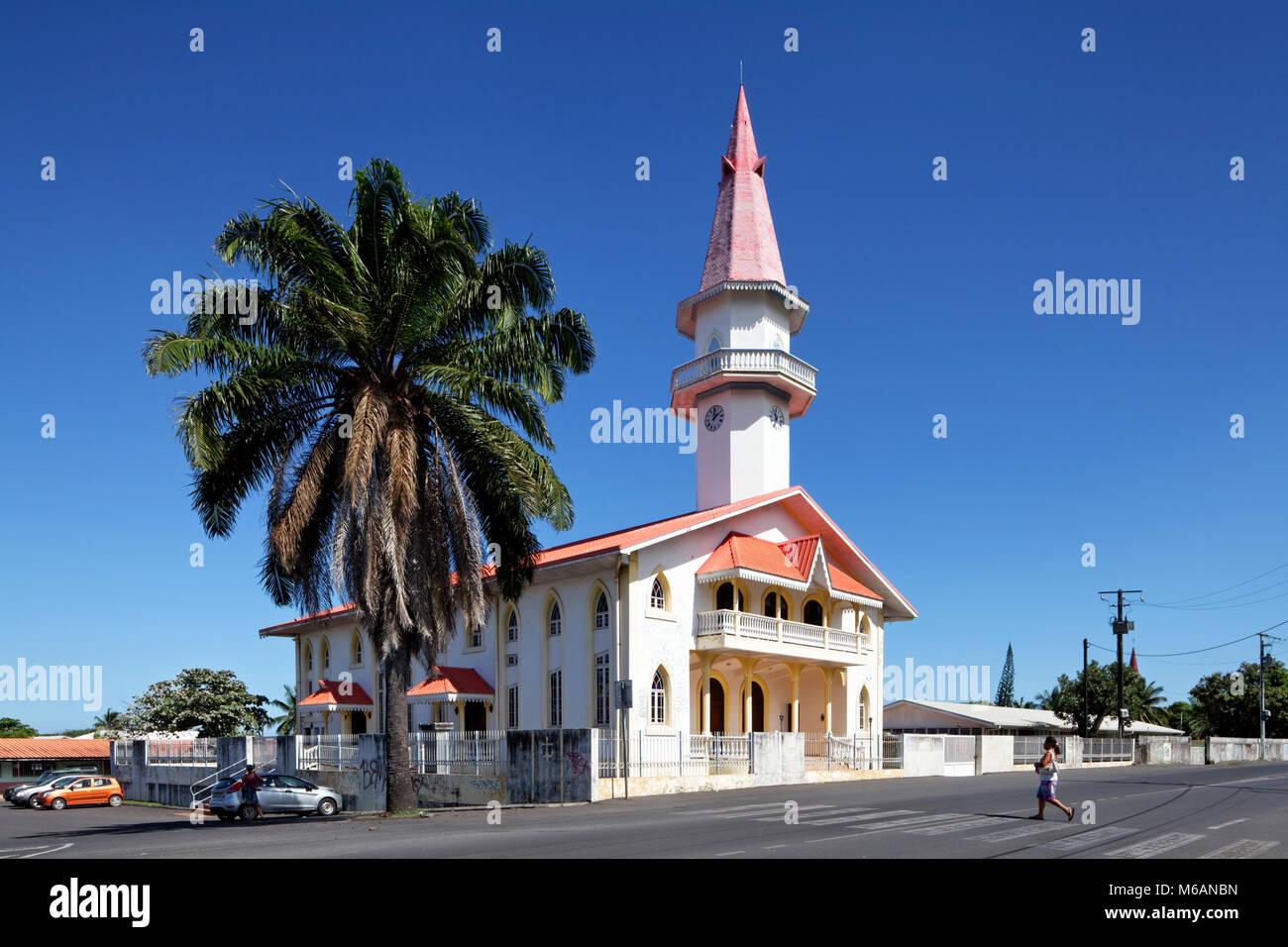 Protestant Church in Papara, Tahiti, French Polynesia - Stock Image