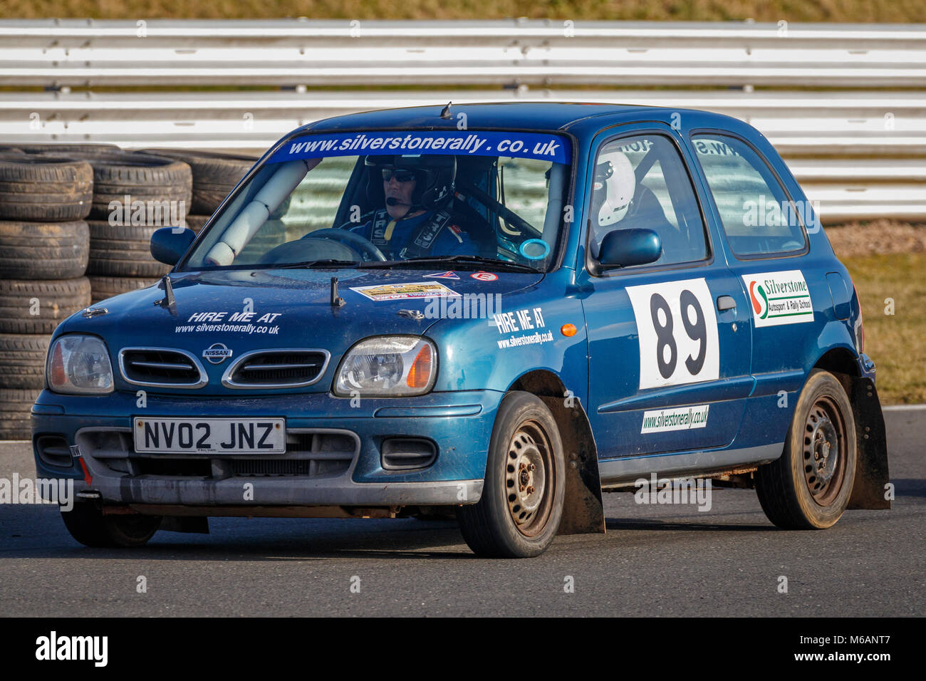 Ross Upton and Connor Poole in their Nissan Micra at the 2018 Motorsport News Snetterton Stage Rally, Norfolk, UK. - Stock Image