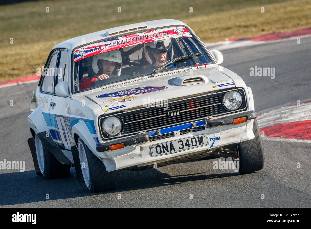 Ian Woodhouse and Jason Leaf in their Ford Escort Mk2 during the 2018 Motorsport News Snetterton Stage Rally, Norfolk, Stock Photo