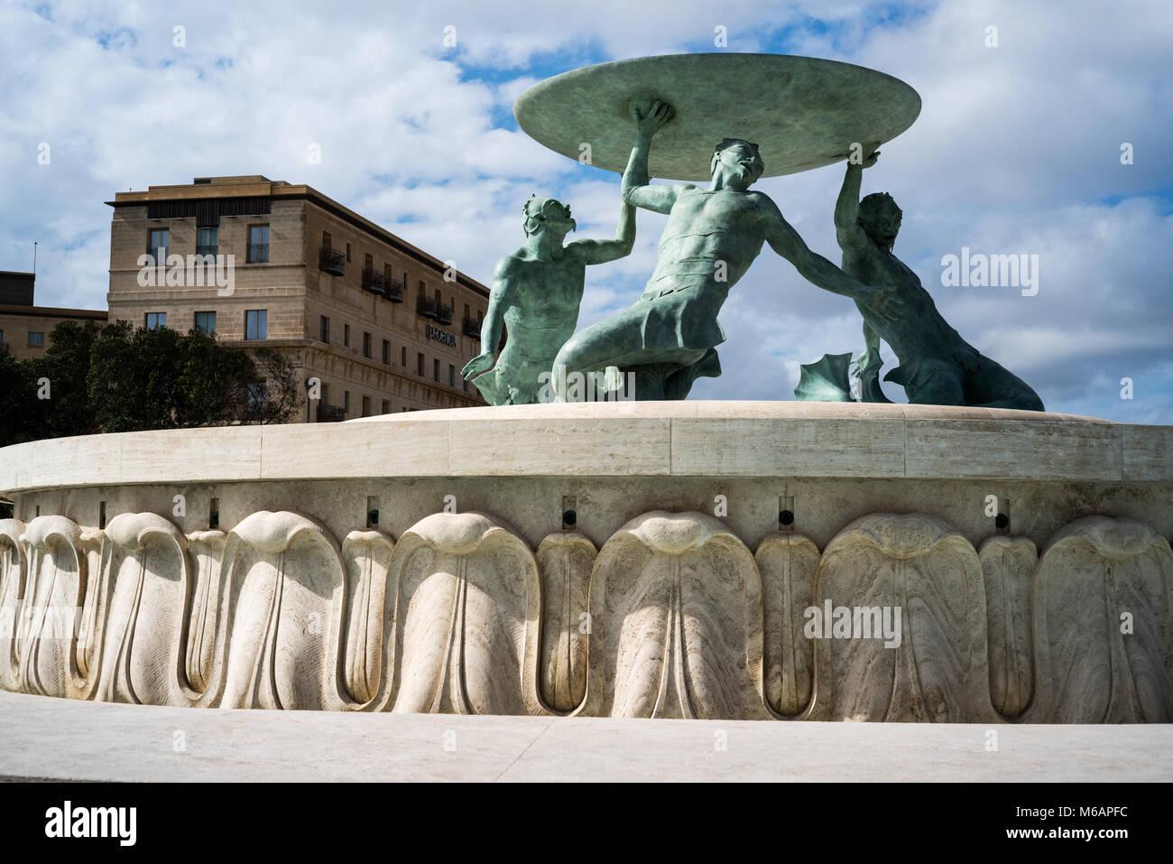Triton Fountain Valletta Malta Europe Stock Photo