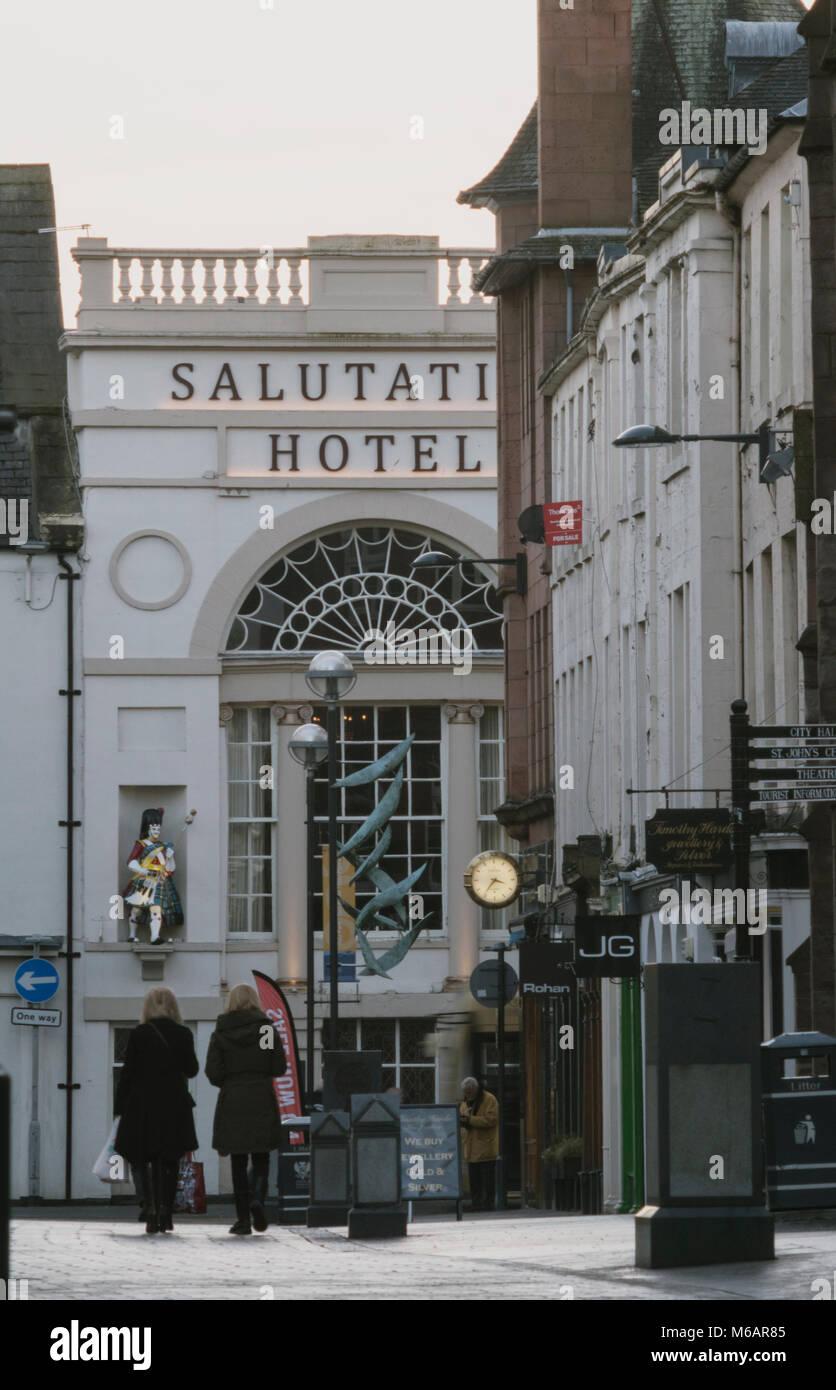St John's Street shopping pedestrian precinct in the centre of Perth, Scotland, UK. - Stock Image