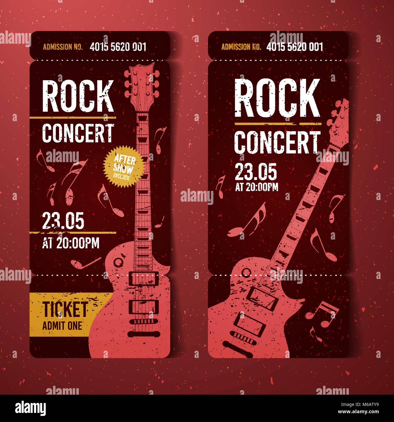 vector illustration red rock concert ticket design template with