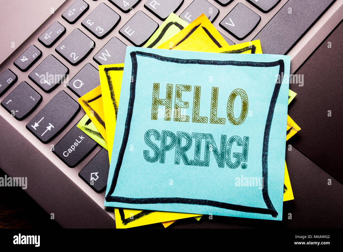 Conceptual hand writing text caption inspiration showing Hello Spring!. Business concept for Summer Time Welcoming - Stock Image
