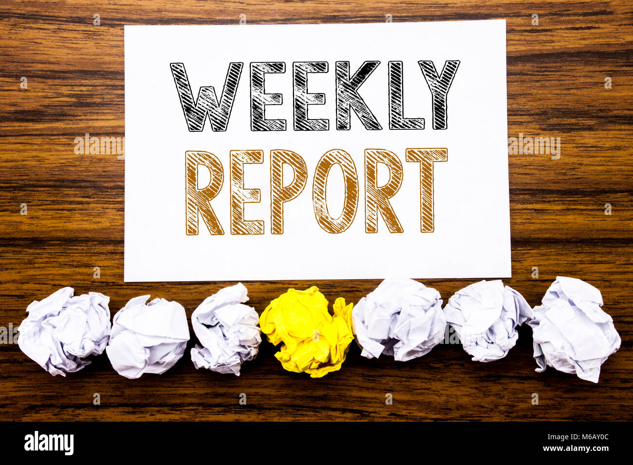 Word, writing Weekly Report. Concept for Analyzing Performance Stock ...