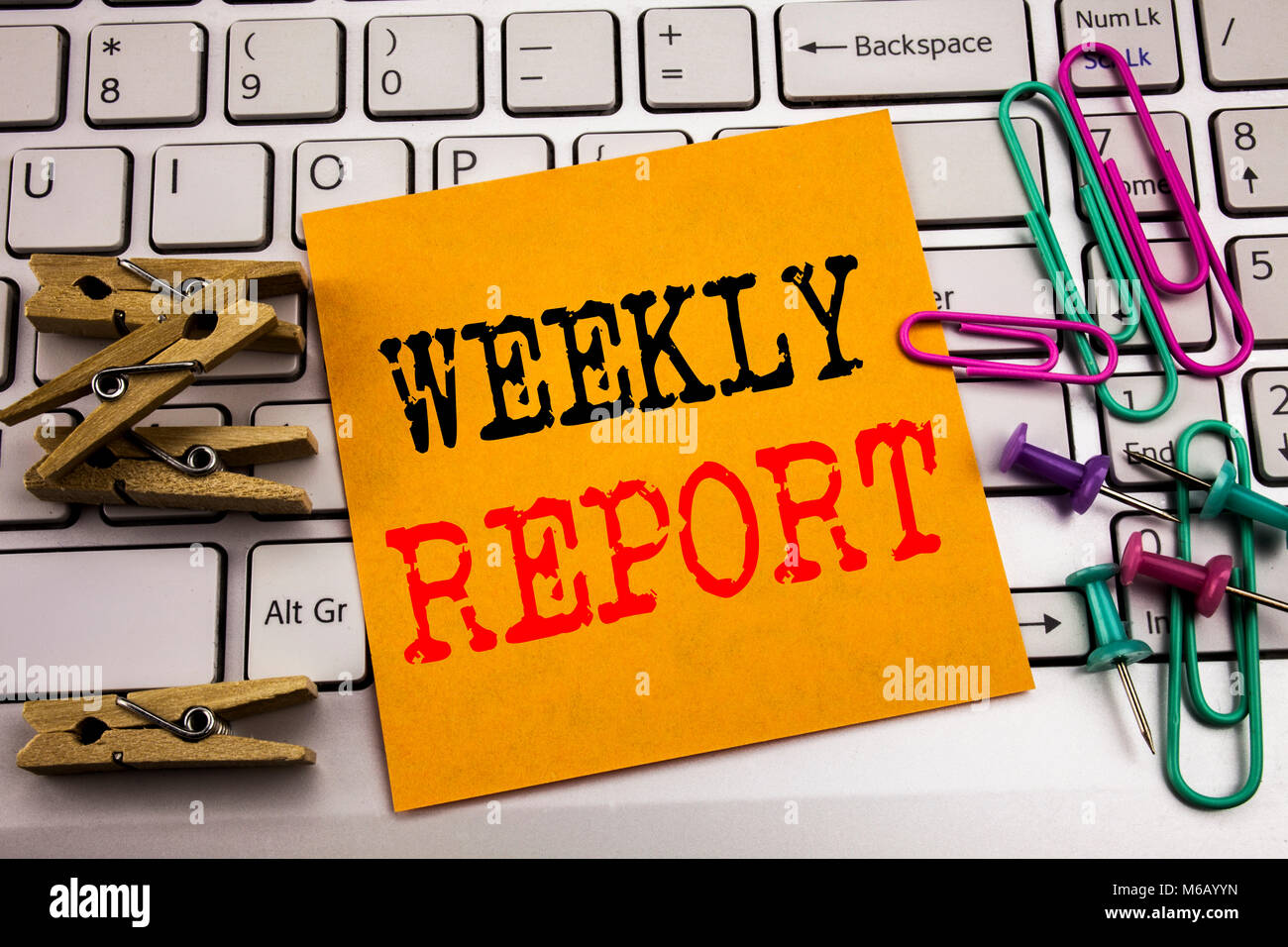 Writing text showing Weekly Report. Business concept for Analyzing ...