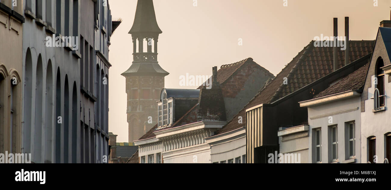 Bruges roofline depicting different classical architectural brick and stone styles with Jan Van Eickplein tower - Stock Image