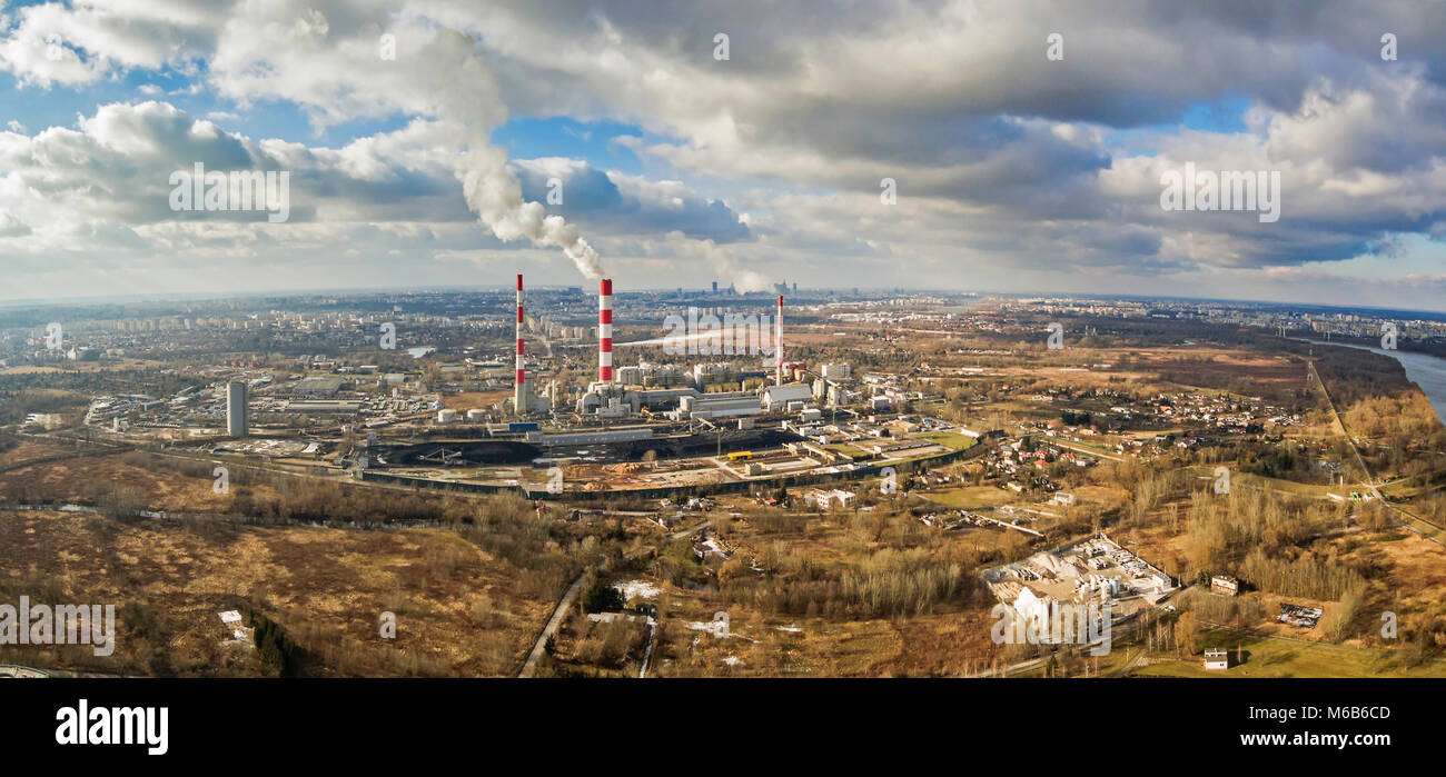 Aerial view of power plant under cloudy sky, Warsaw - Stock Image