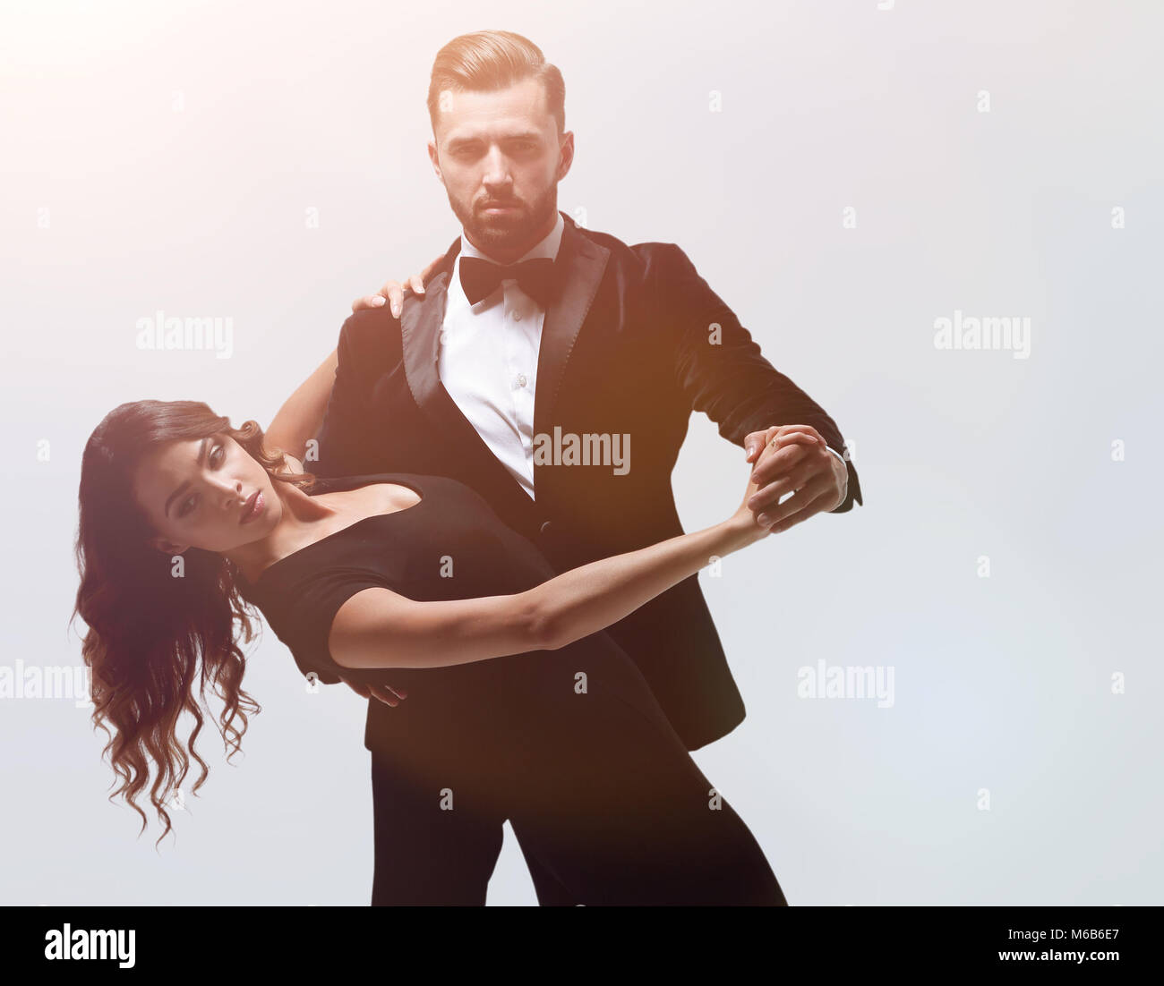 Attractive model couple passionate love