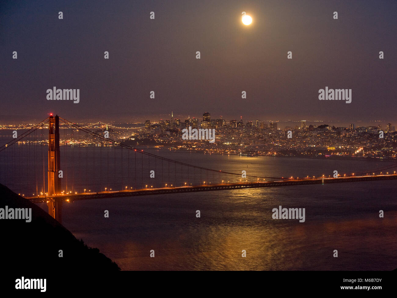 Moonrise, Golden Gate Bridge, San Francisco, California - Stock Image
