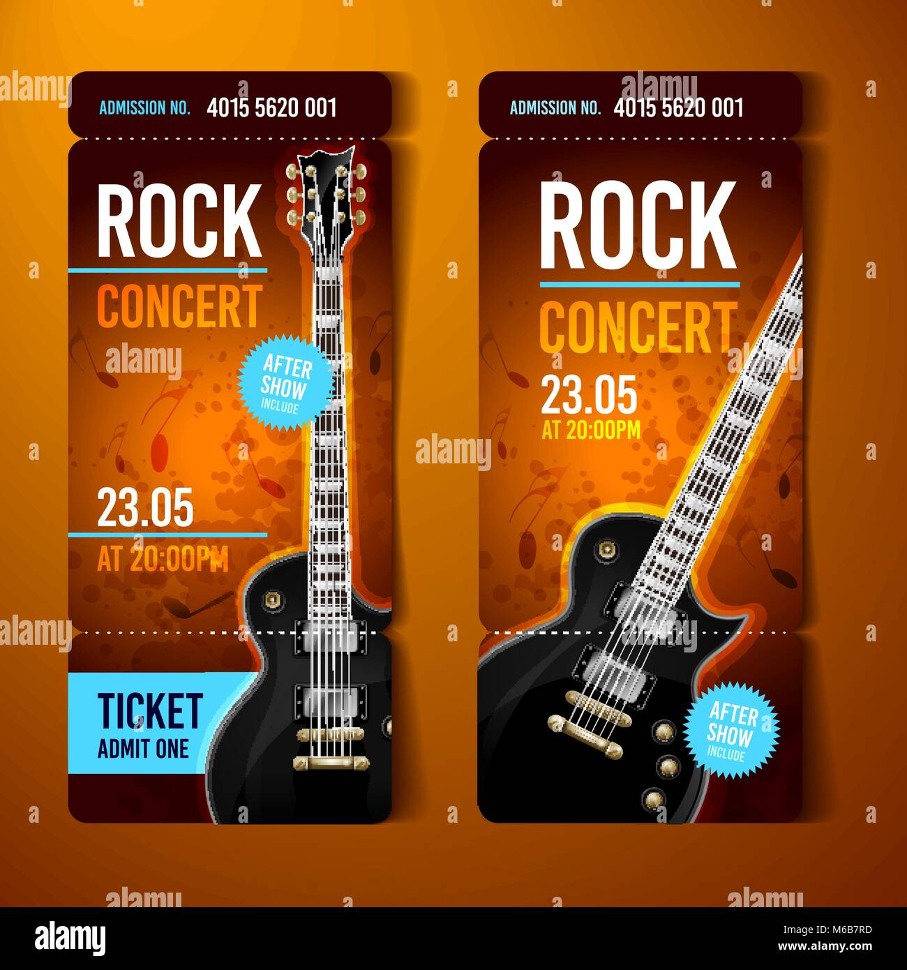 vector illustration orange rock concert ticket design template with