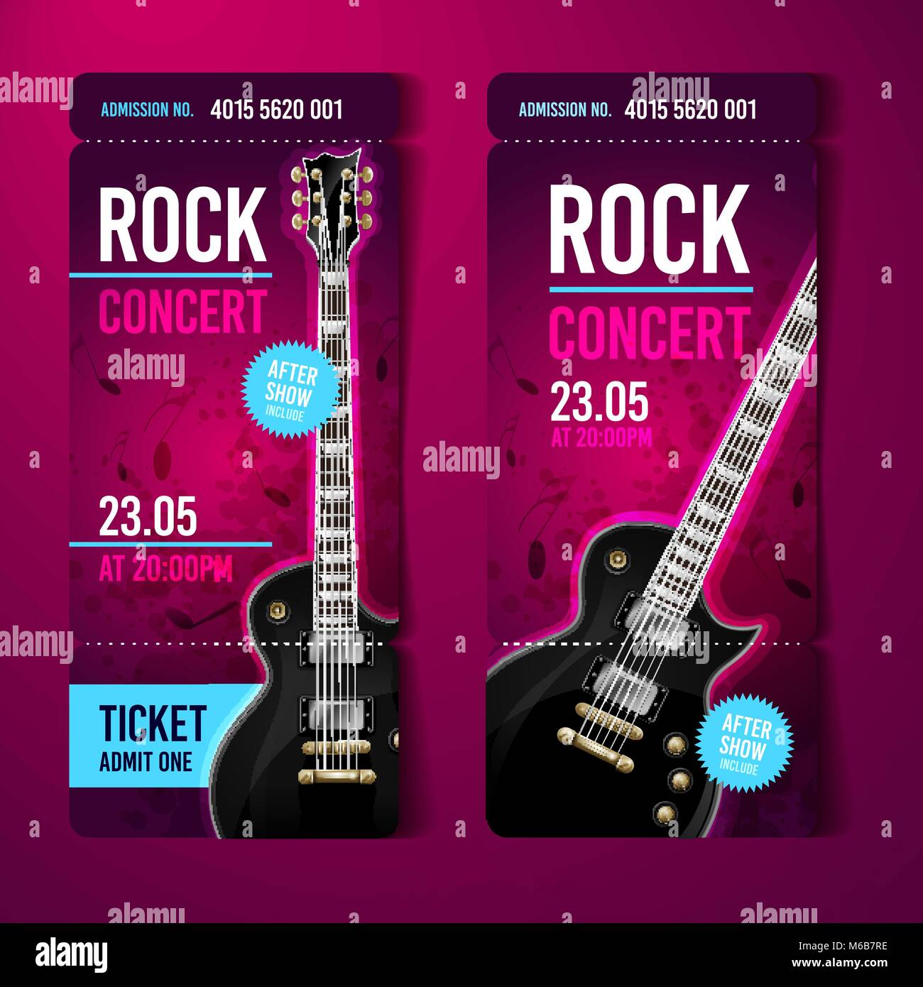 vector illustration pink rock concert ticket design template with