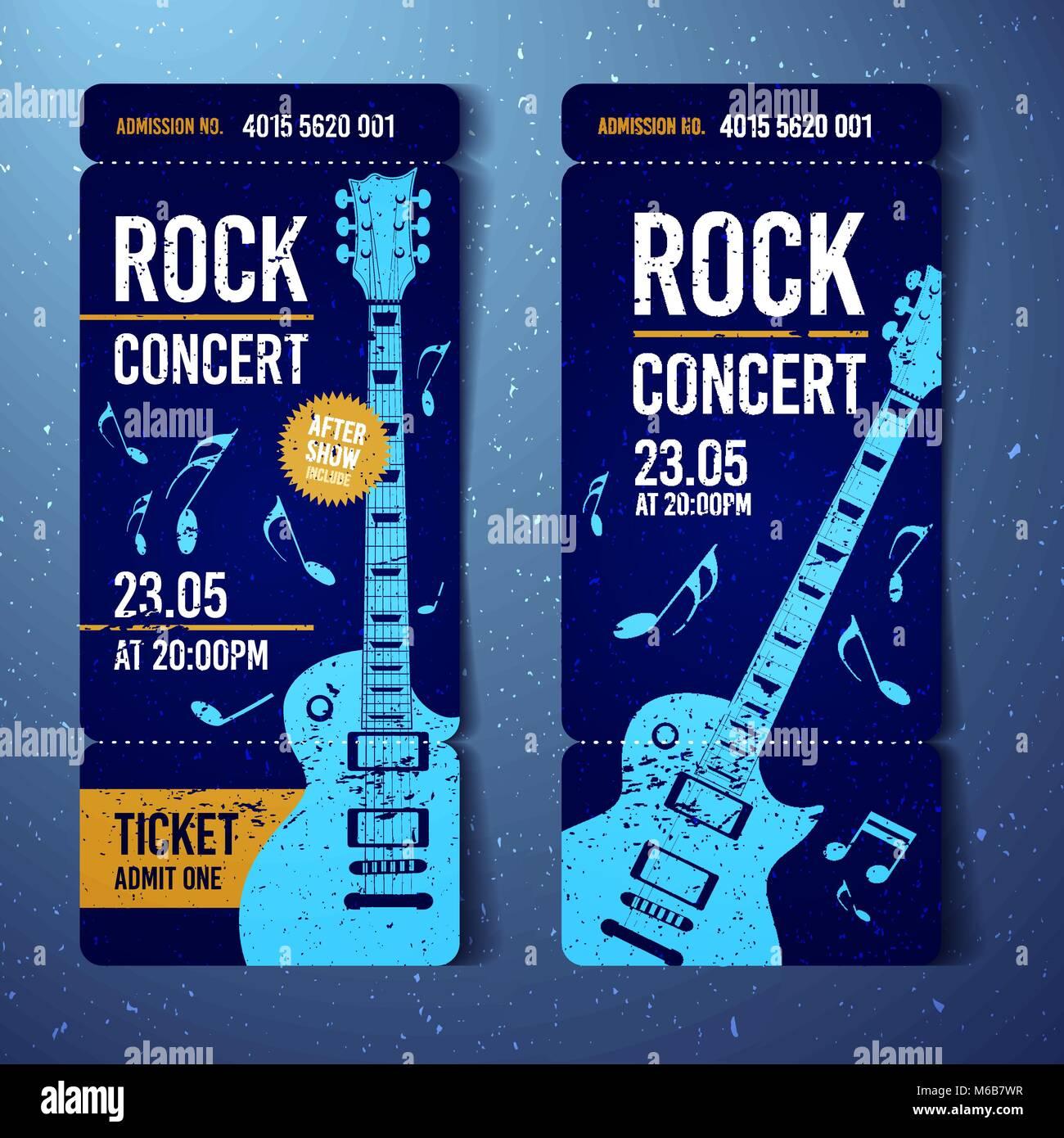 vector illustration blue rock concert ticket design template with
