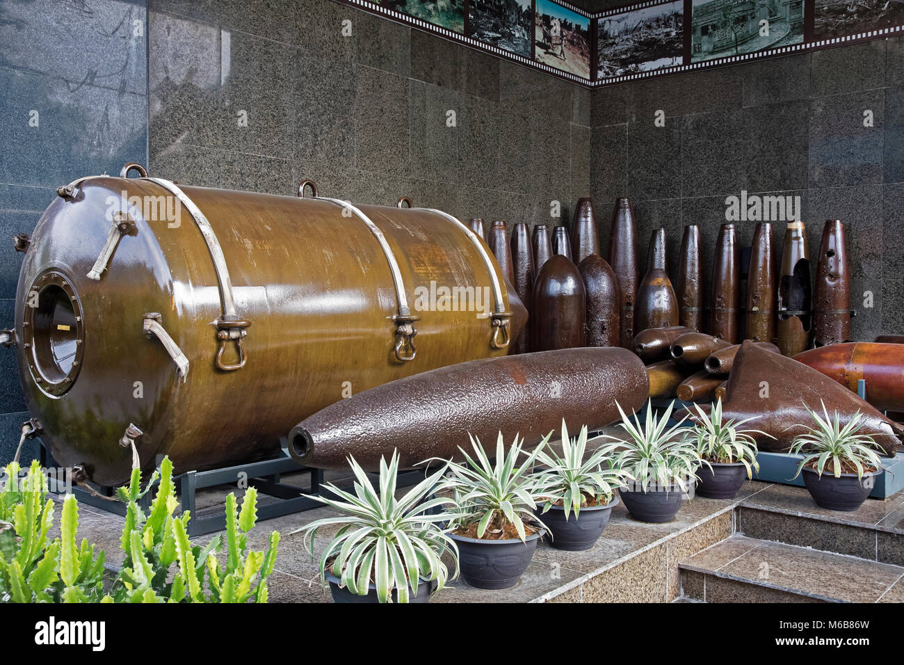 Bombs on display in the War Remnants Museum in Ho Chi Minh City Vietnam - Stock Image