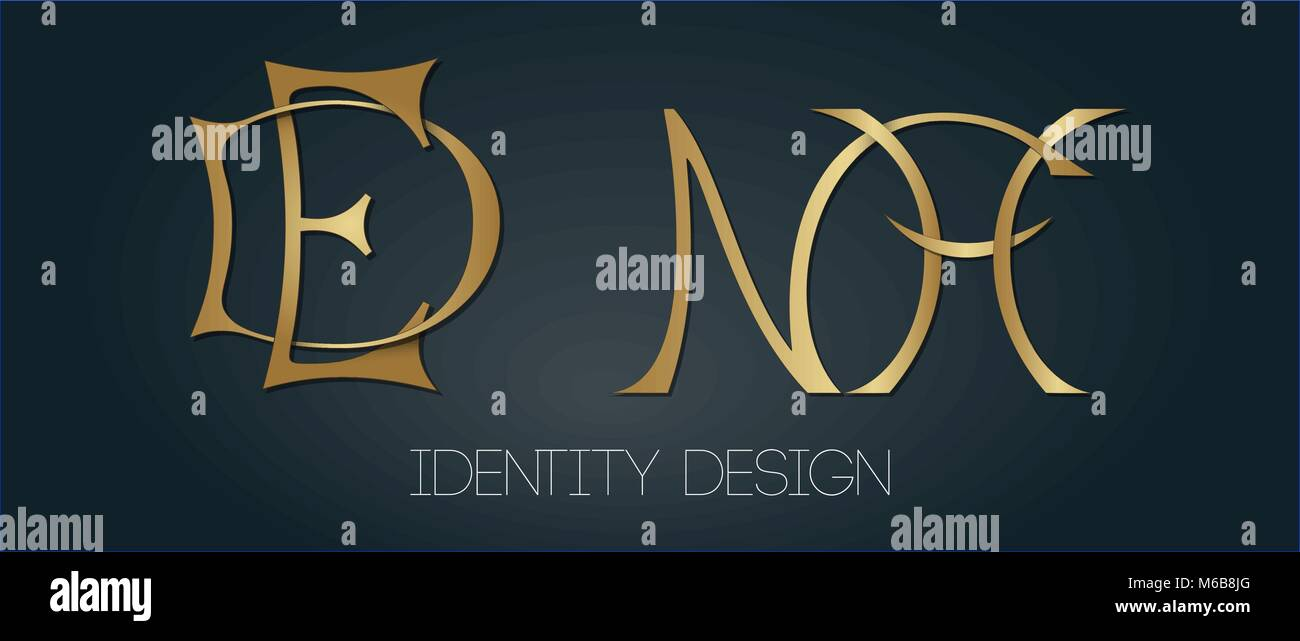 Set of two elegant monograms with golden letters DE and NH on dark background for designing logotypes and branding - Stock Image