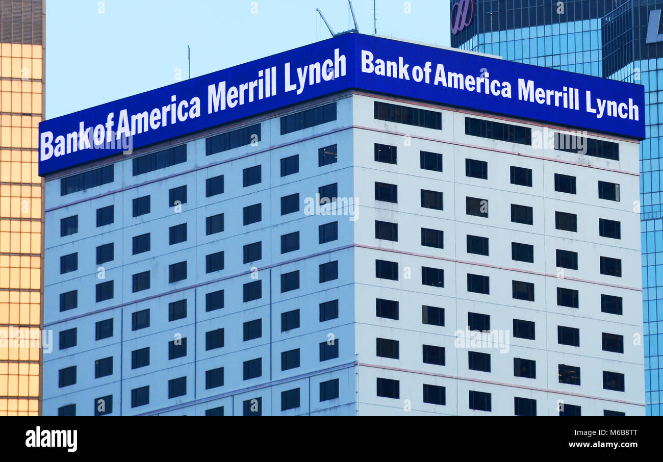 Bank of America Merrill Lynch, Honk Kong island - Stock Image