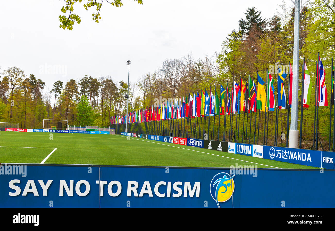 Say No to racism. Visiting official FIFA headquarters in Zurich - Stock Image