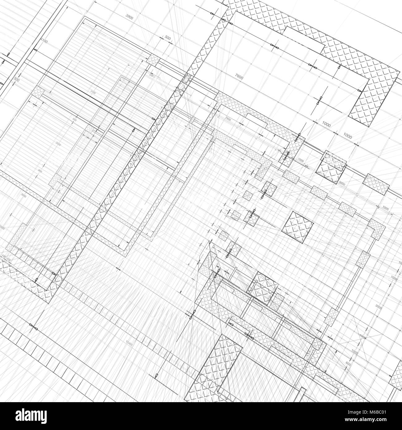 Building plan black and white stock photos images alamy architecture blueprint 3d rendering stock image malvernweather Image collections