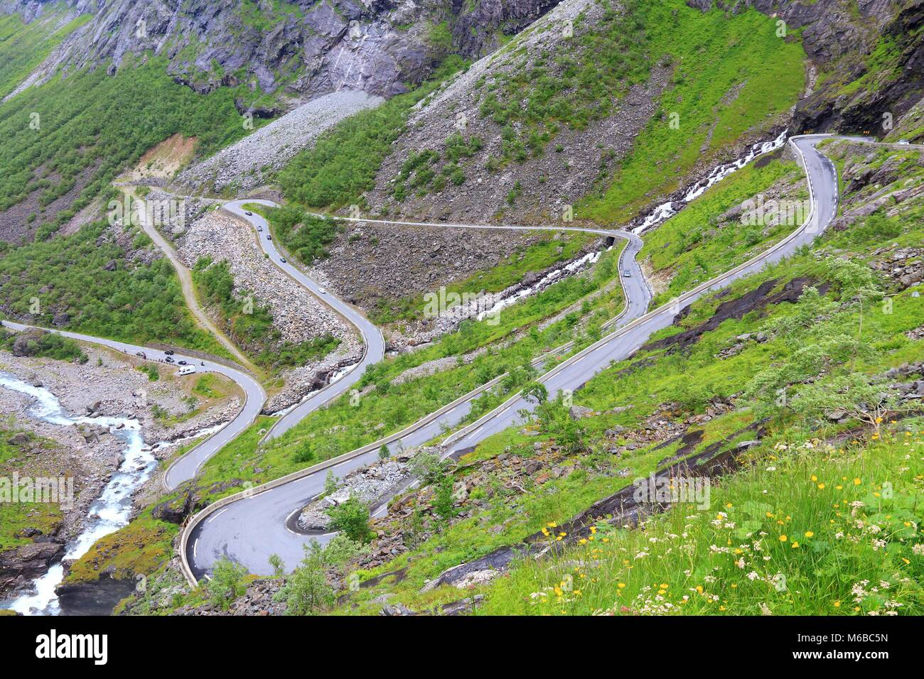 Norway Troll Road - mountain route of Trollstigen. More og Romsdal region. - Stock Image