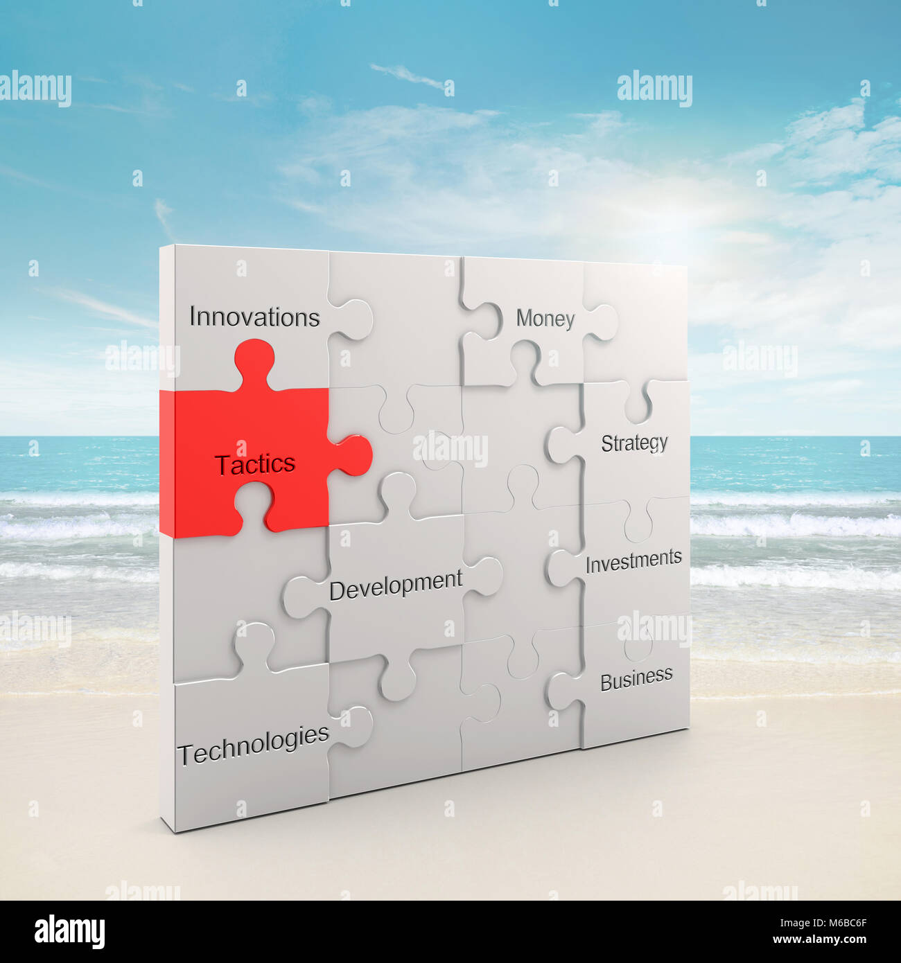 Tactics puzzle concept 3d rendering - Stock Image