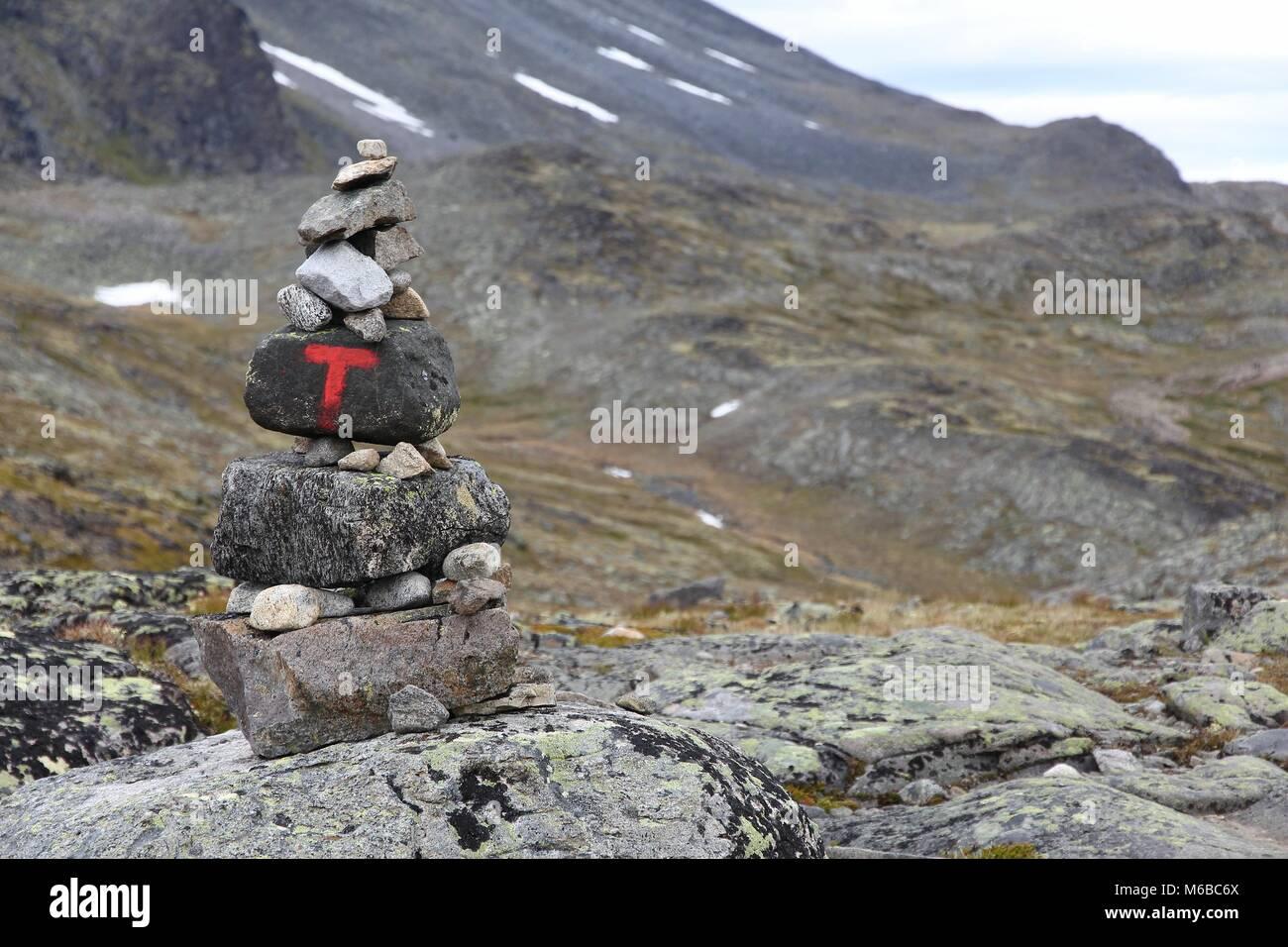 Norway nature - Jotunheimen National Park. Besseggen ridge trail marking cairns. - Stock Image