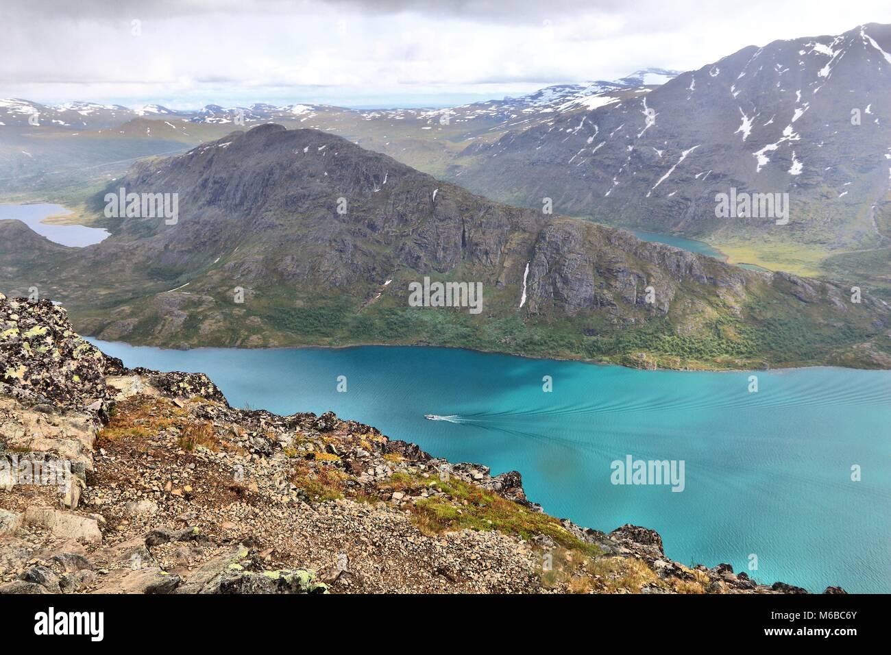 Norway nature - Jotunheimen National Park. Besseggen ridge trail between two lakes (Gjende and Bessvatnet). Oppland - Stock Image