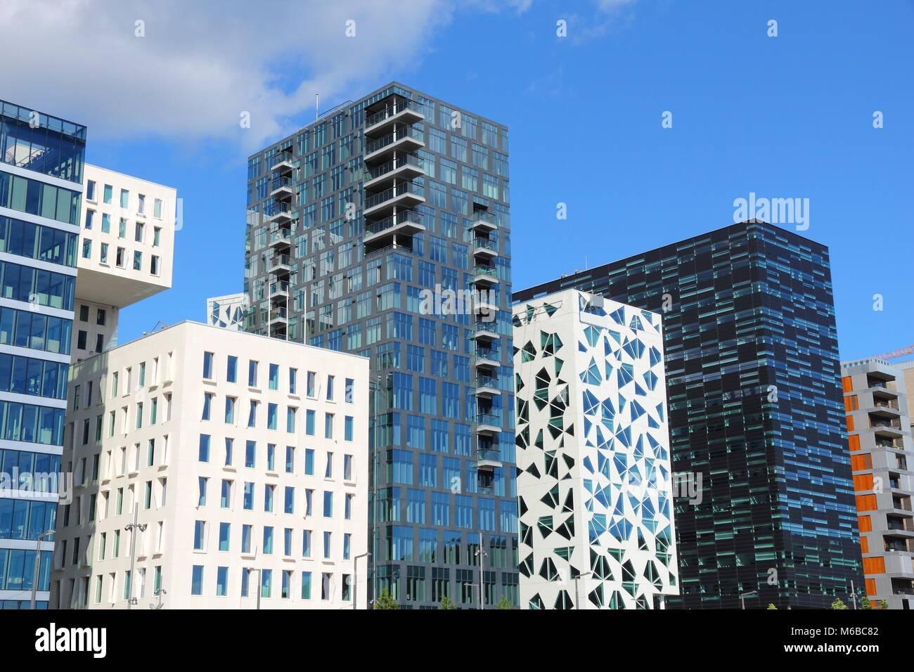 Modern Oslo skyline - Norway capital city. Bjorvika district. - Stock Image