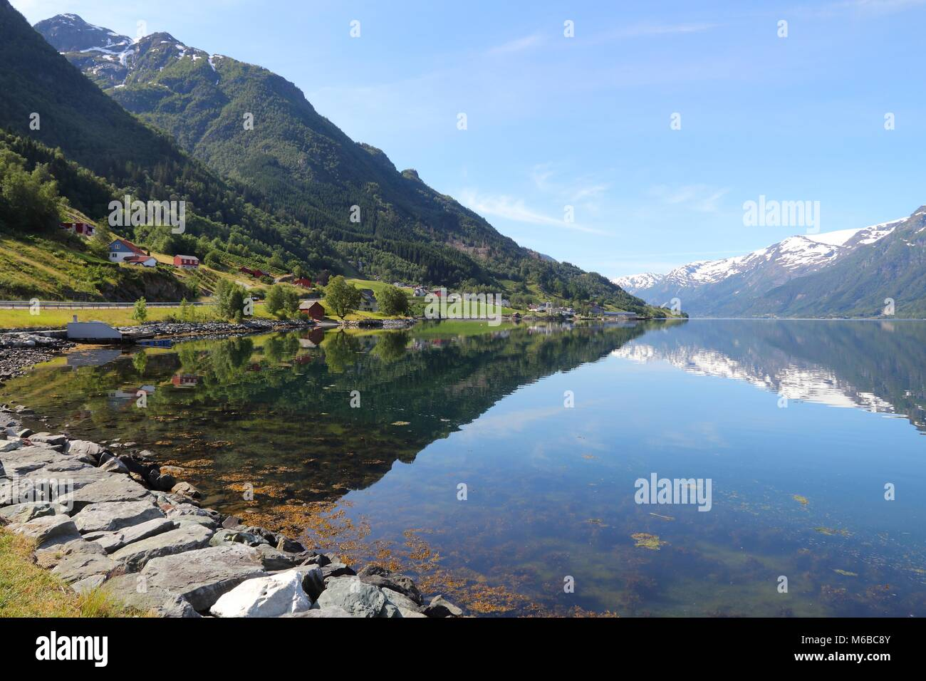 Norway fiord landscape - part of Hardanger Fjord called Sorfjord. Morning view. - Stock Image