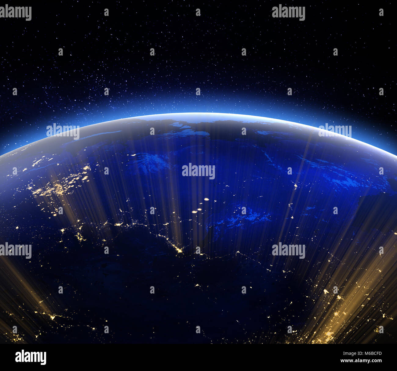 Planet earth city lights. 3d rendering - Stock Image