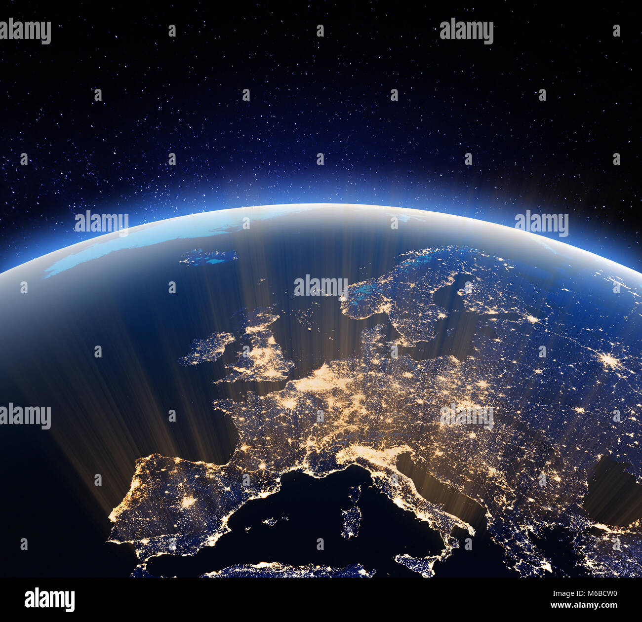 Earth from space. 3d rendering - Stock Image