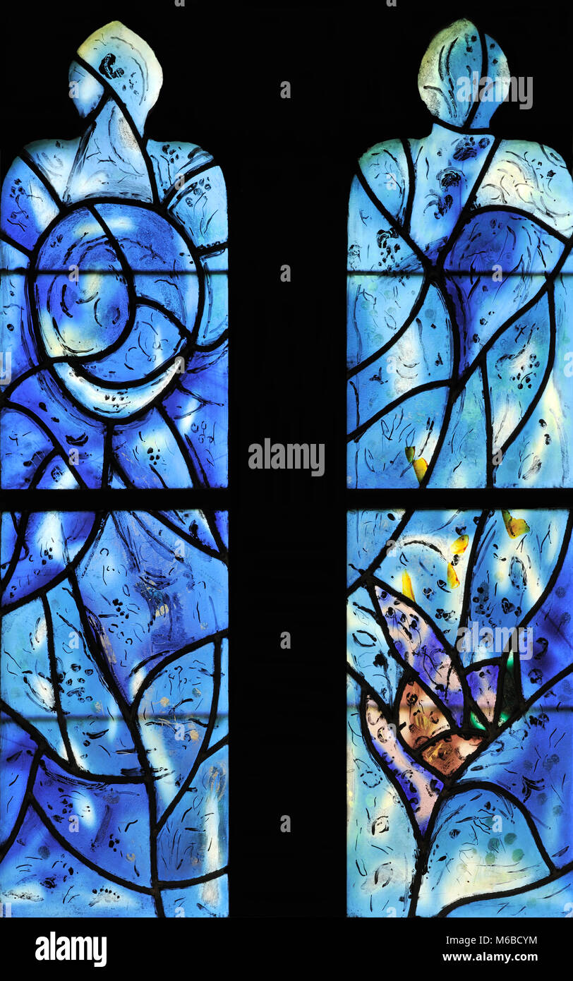 Creation (second of five windows depicting the creation of life) by Marc Chagall, Tudeley Church, Kent, England - Stock Image