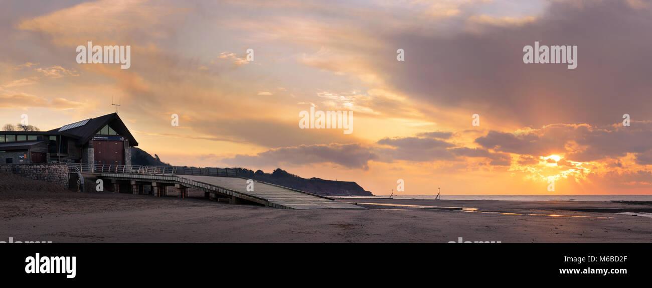 Exmouth lifeboat station at sunrise Stock Photo