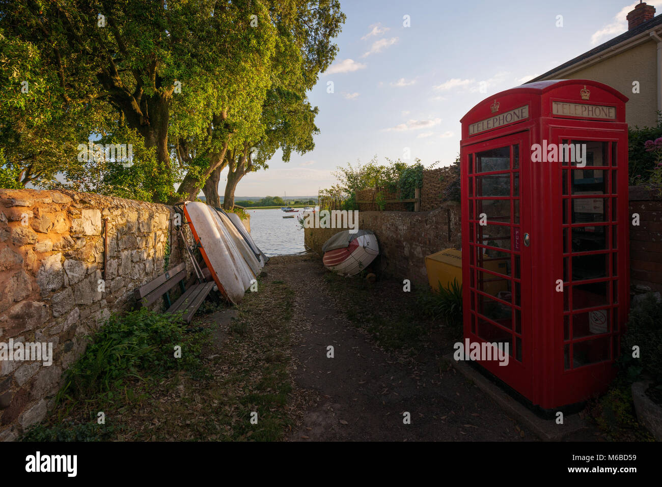 British red telephone box at Topsham nr Exeter Devon - Stock Image