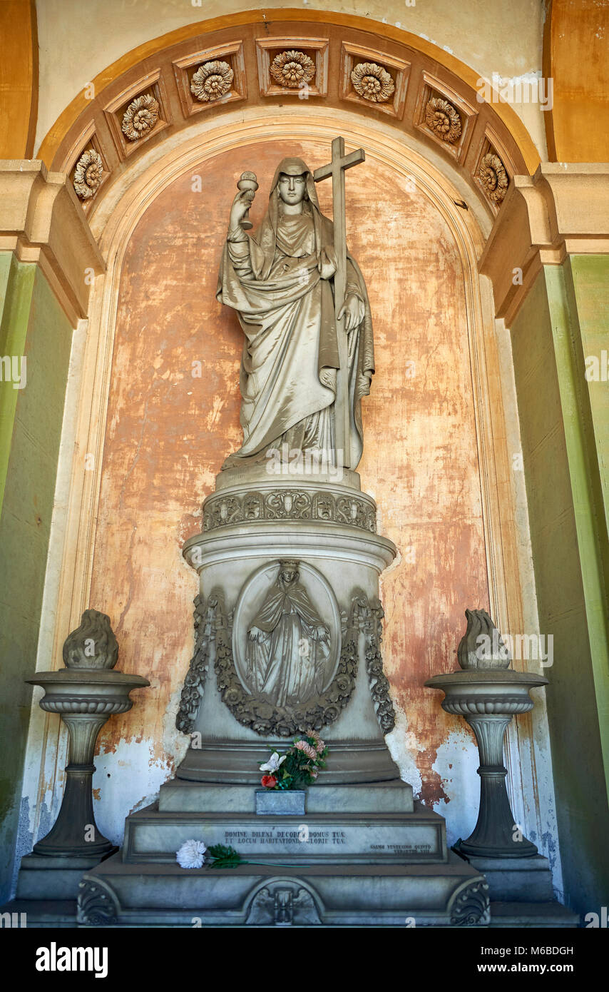 Pictures of the classical stone sculptured monumental tombs of the Staglieno Monumental Cemetery, Genoa, Italy - Stock Image