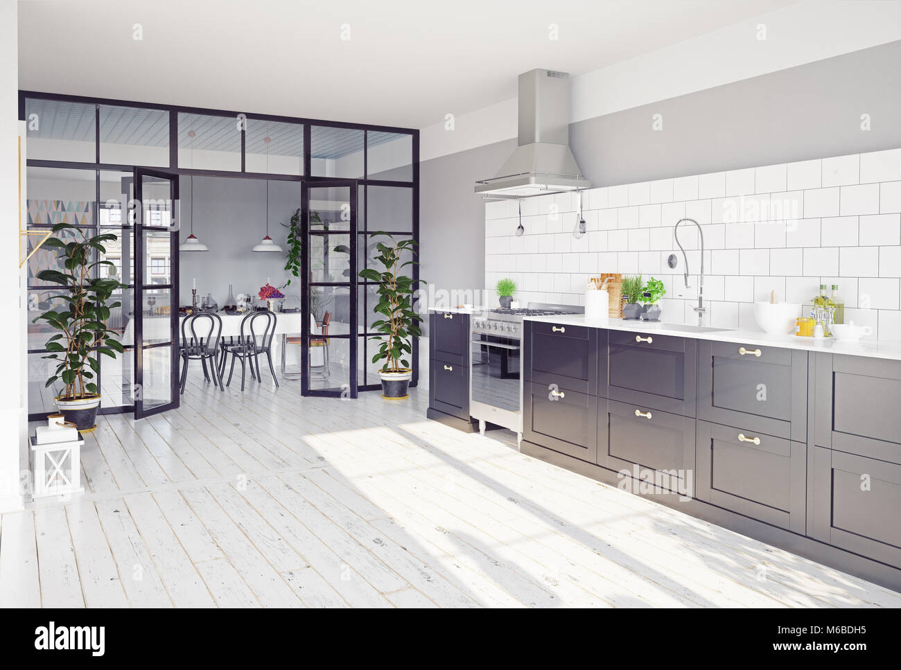 Modern Kitchen Interior With Glass Partition 3d Rendering Concept Stock Photo Alamy