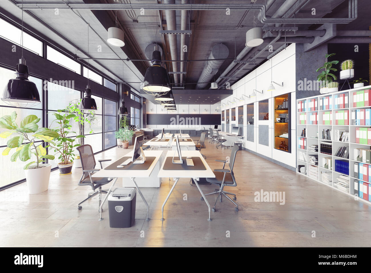 modern cozy loft office interior. 3d rendering - Stock Image