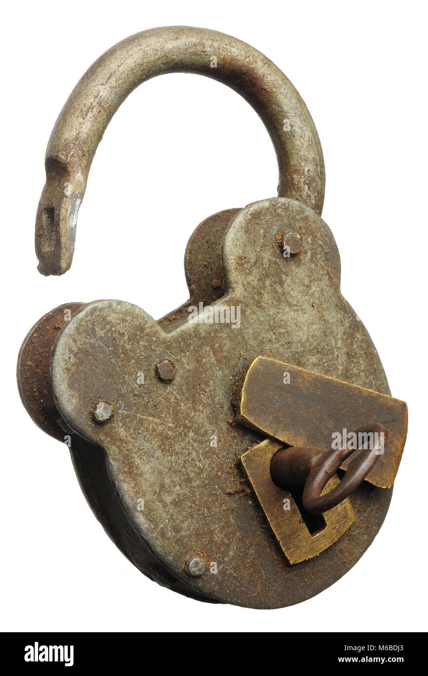 an vintage padlock unlocked and opened with key isolated on white - Stock Image