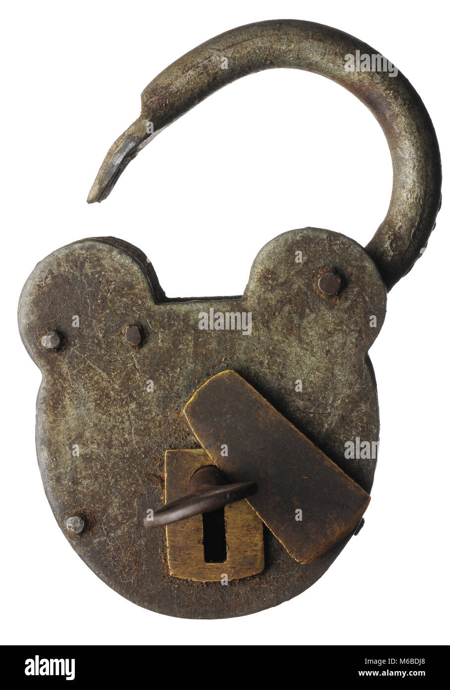 An antique padlock opened with a key - Stock Image