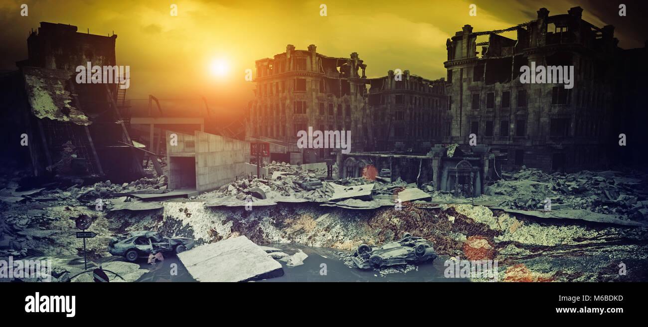 apocalyptic city sunset. Creative 3D illustration - Stock Image
