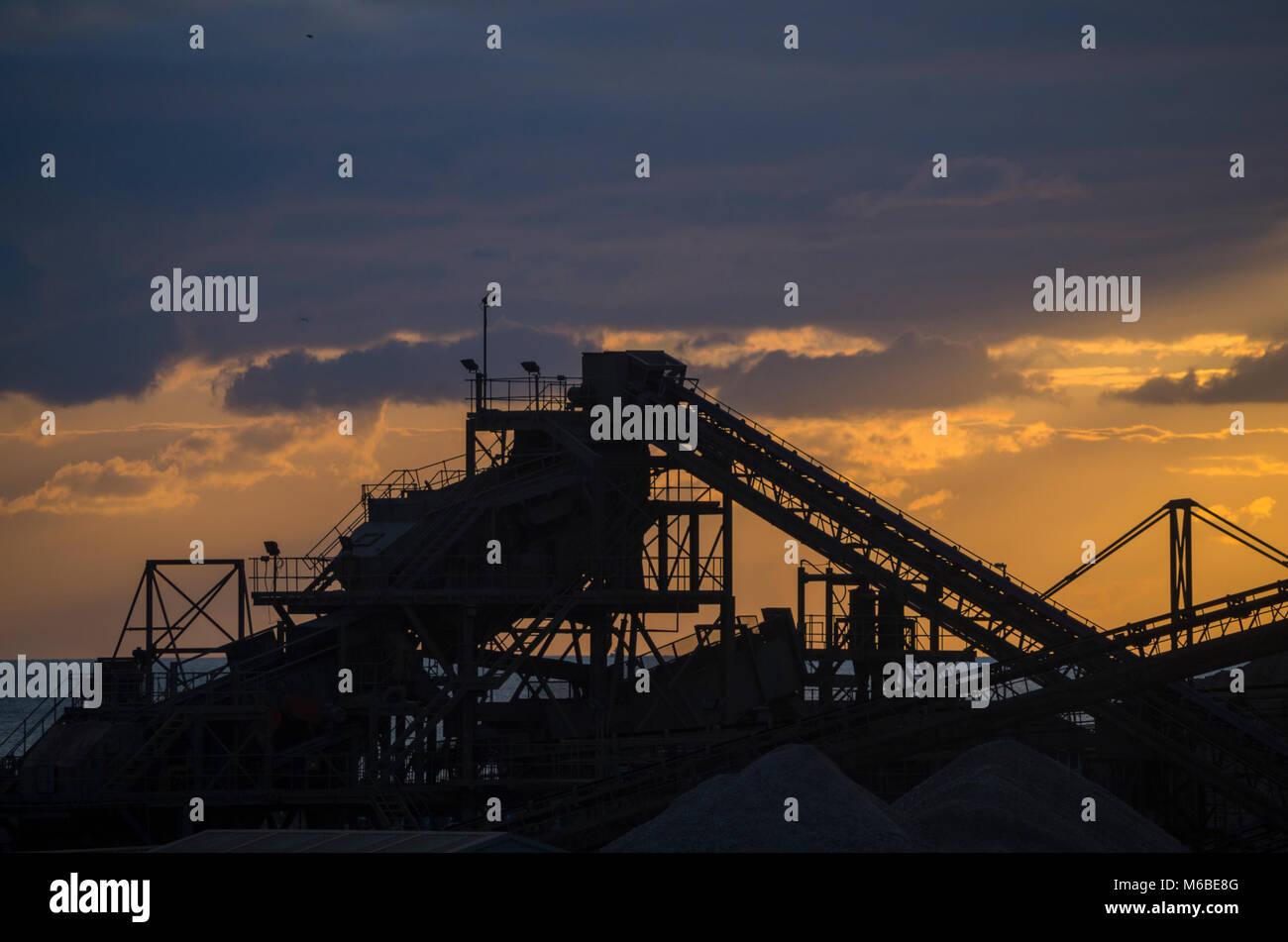 Industrial gravel plant, Shoreham Port, West Sussex UK. Stock Photo