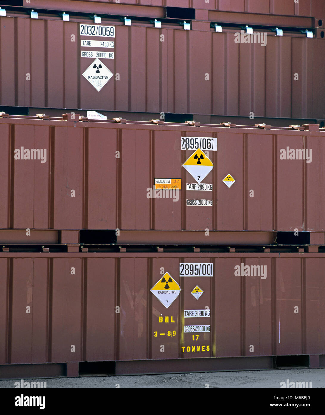 Containers of low-level radioactive waste stacked in Vault 8 at the Low Level Waste Repository at Drigg, near Sellafield, - Stock Image