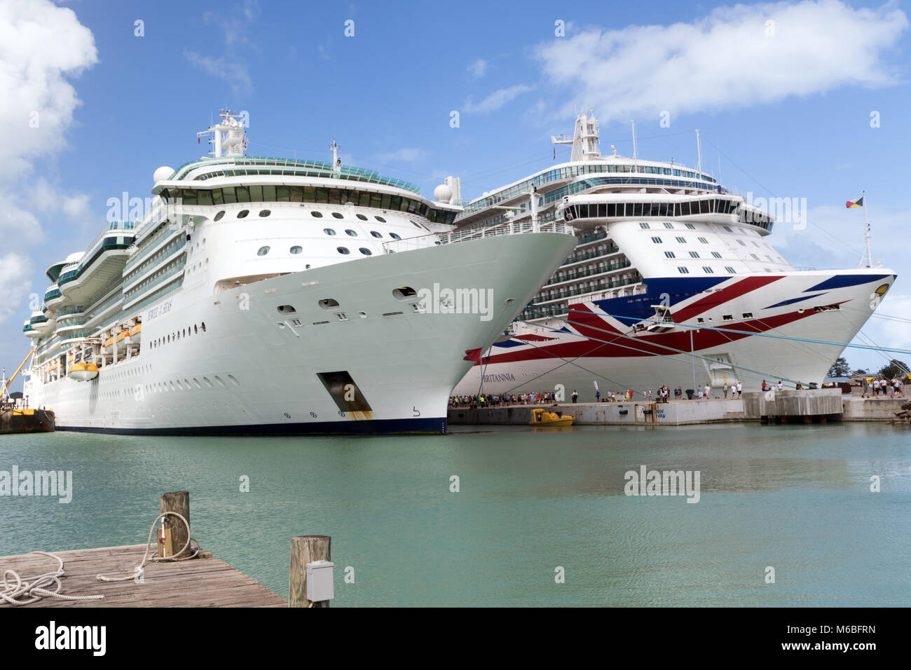 Two Cruise Ships docked on the Caribbean island of Antigua
