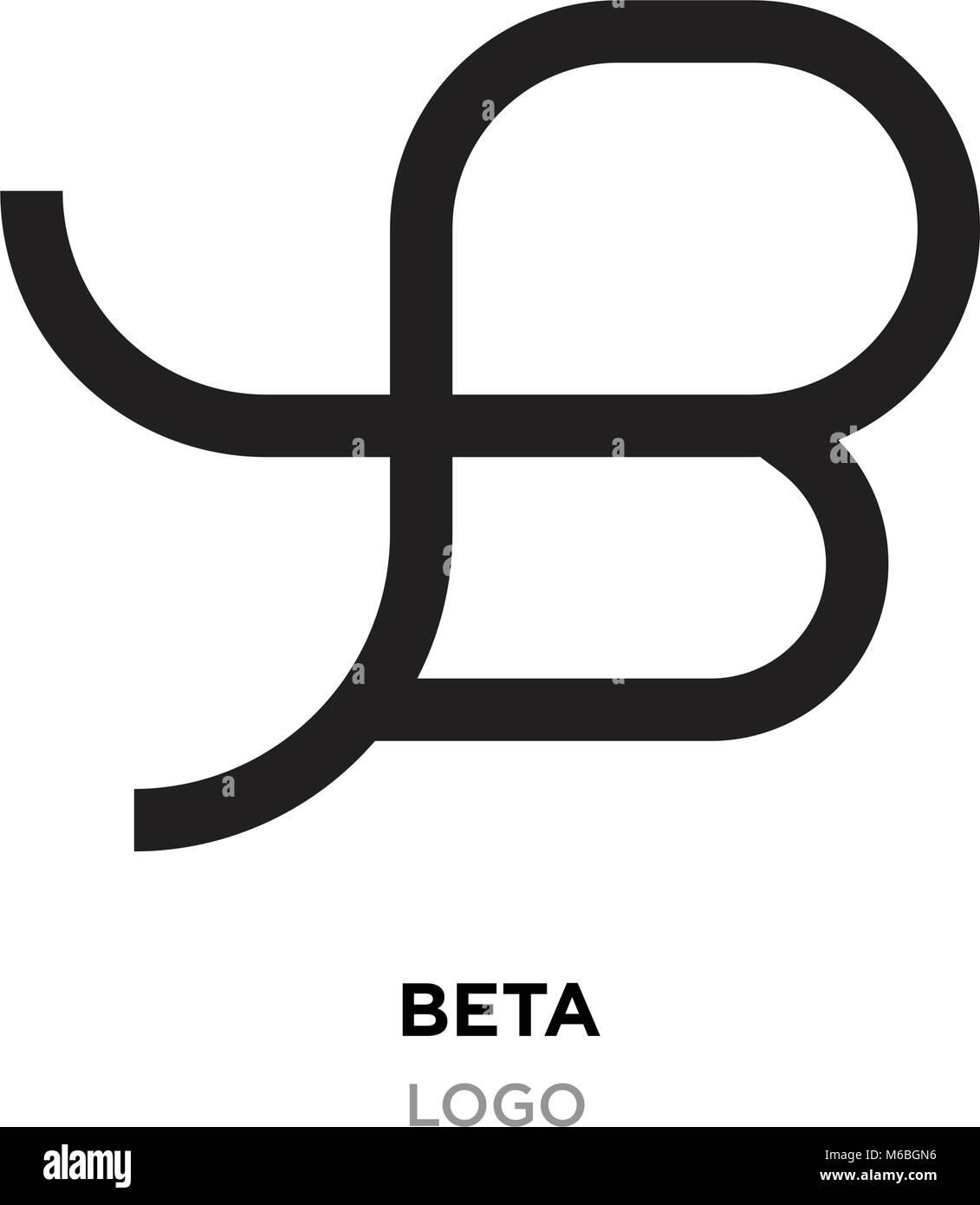 beta logo, flat vector sign B in modern style Stock Vector
