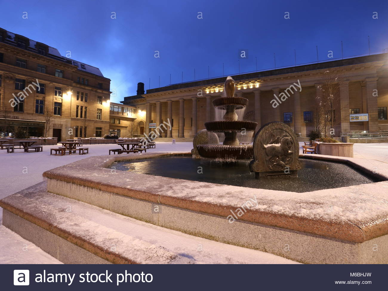 City Square and Caird Hall in winter Dundee Scotland  February 2018 - Stock Image
